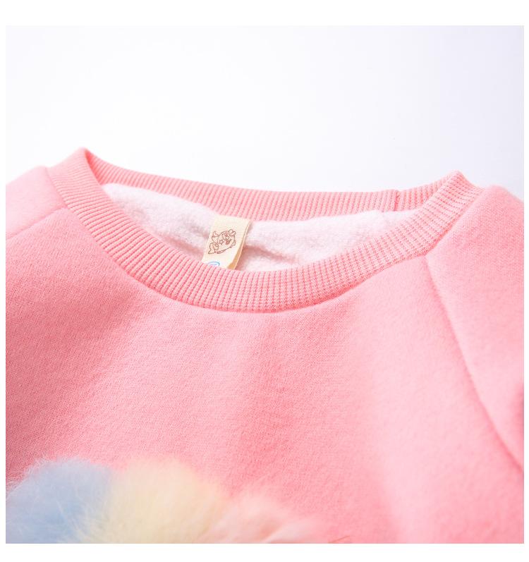 Cute Ball Ice Cream Girls Sweatshirt Autumn Winter Thick Warm Kids Sweatshirts for Girl O-neck Long Sleeve Children Top Clothing 8
