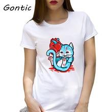 Cat Got Your Heart gothic Dark style Killer cat funny print t shirt summer short sleeve cotton graphic tee cartoon women clothes cat print tee