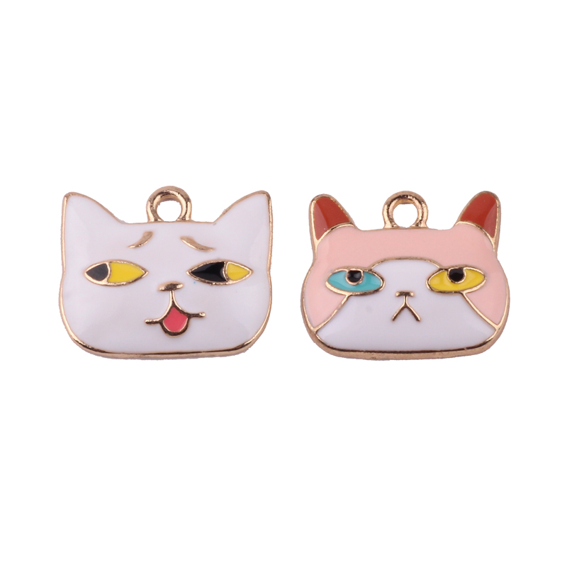 10pcs Cartoon Cats Enamel Charms for Jewelry Making Floating Metal Cat Pendant Floating Women DIY Fashion Charms FX009 in Charms from Jewelry Accessories