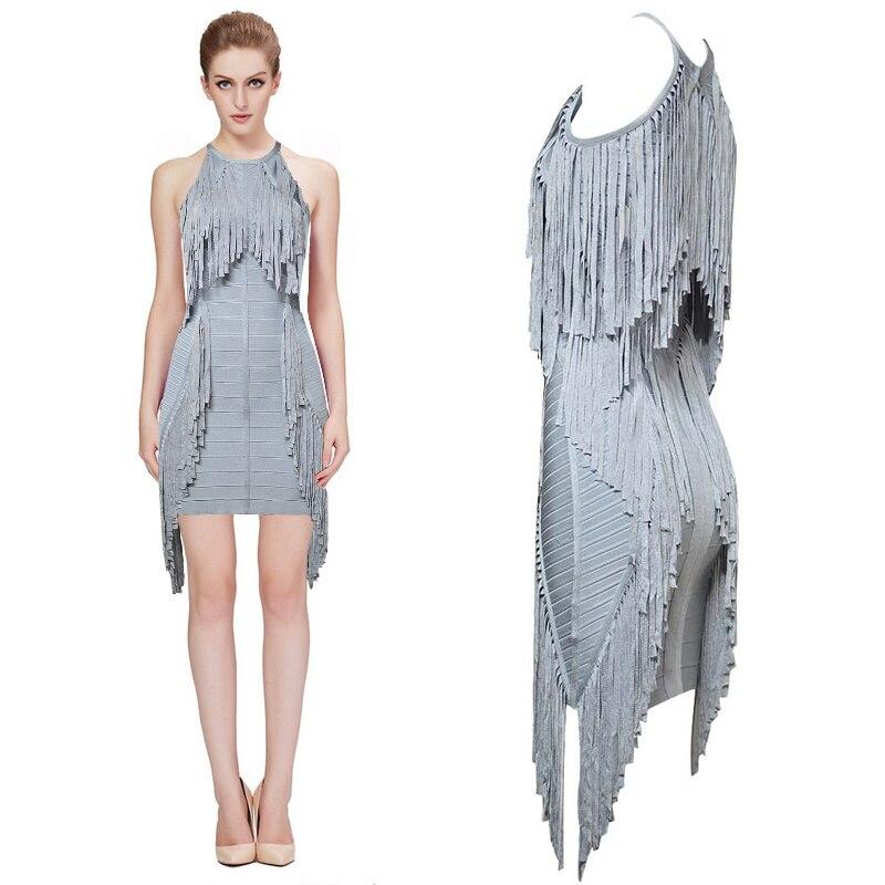 Venta al por mayor nuevo vestido de fiesta de cóctel ajustado con borla gris (H0362)-in Vestidos from Ropa de mujer    1