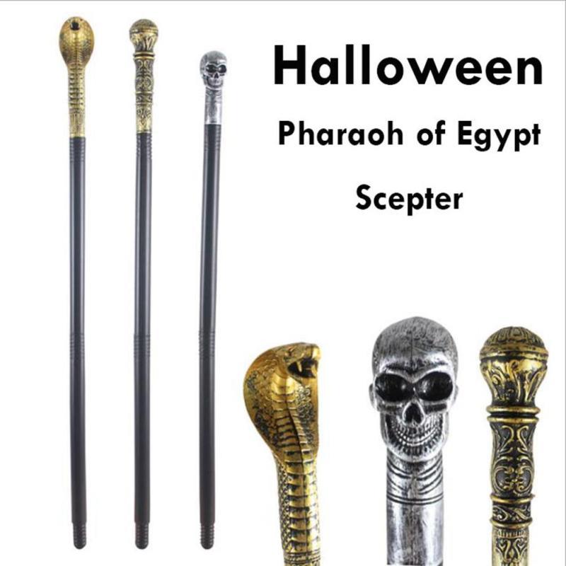 Halloween Props Skull Scepter Cosplay Scepter Wand Masquerade Magic Wand Pharaoh Snakehead token stick death sticks V3