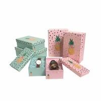3PCS Set Lovely Packing Gift Box Wedding Party Decoration Flosrit Flower Box Foil Gold Color Favors