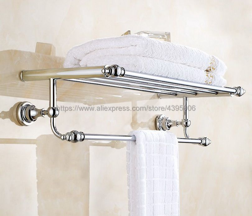 Chrome Bathroom Brass Clothes Towel Racks Shelf Towel Storage Holder Wall Mounted Bba901 fashionable design bathroom towel shelf antique brass shelf storage holder wall mounted