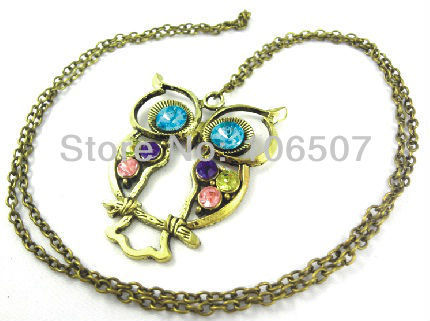 free shipping 10pcs lovely Colorful rhinestone owl necklace hot sell choker trendy necklace sweater chain fashion