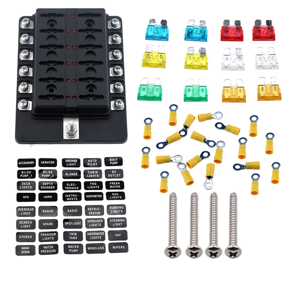 12 Way Car Blade Fuse Block Truck Marine Boat Box With M5 Spade Terminals