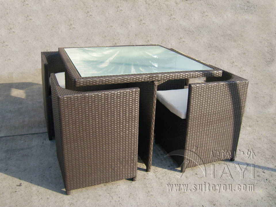 5 Pcs All Weather Plastic Rattan Garden Dining Sets With Chair And Table Transport By Sea In