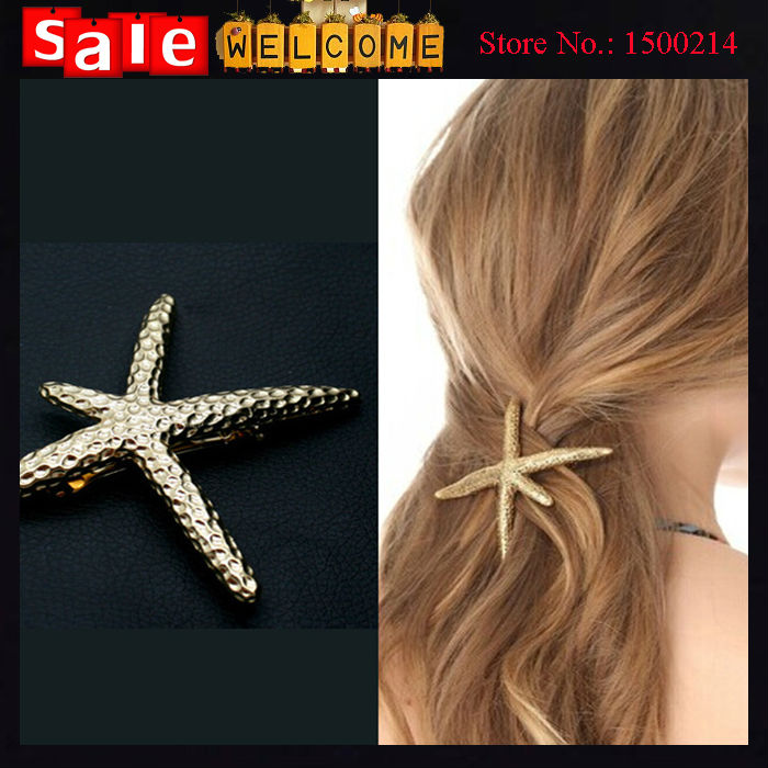 Summer Simple Beach Lovely Cute Golden Starfish Barrettes Metal Alloy Sea Star Hair Clips Hair Jewelry Accessories for Women