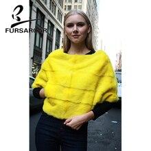 FURSARCAR Real Mink Fur Cape Women Winter Bat Sleeved Full Pelt Short Style O-Neck Natural Fashion Slim Shawl