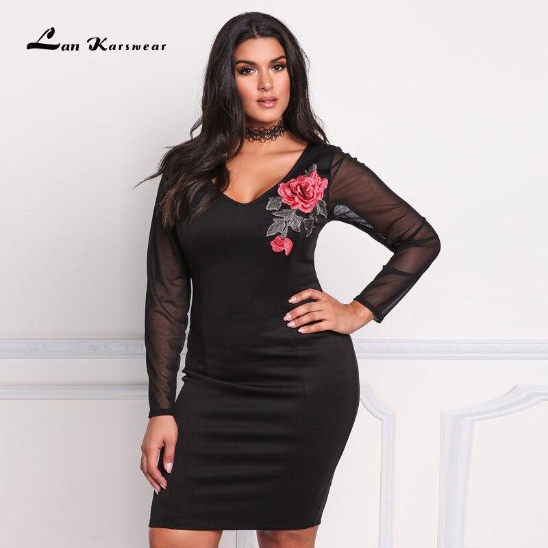 Lan Karswear Autumn 2017 Bandage Dress V neck Long sleeve Sexy Club Party Mesh Embroidery Plus