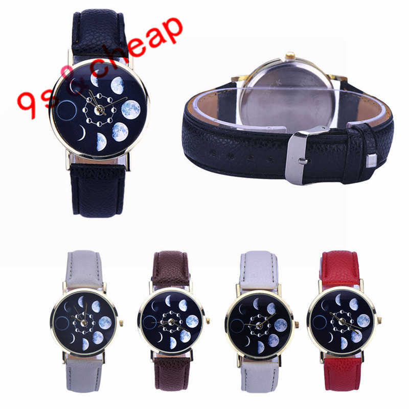 Women's Watches Lovely 2017 Women Fashion Lunar Eclipse Pattern Pu Leather Analog Quartz Wrist Watch Dress Watch Relogio Feminino Womens Watches A Wide Selection Of Colours And Designs