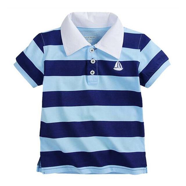 Детская одежда летом хлопка Футболку мальчик футболки детские мальчиков короткие рукава рубашки 1-6Y Детские Дети Мальчики Полосатые Футболки Топы