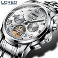 Wasserdicht 50M Sport Uhr für Männer Luminous Analog Display Tourbillon Uhren Silber weißes Zifferblatt Automatische mechanische Armbanduhr-in Mechanische Uhren aus Uhren bei