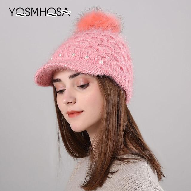 Winter Women s Hats Visors Pompom Beanie Hat for Women Pearl Winter Cap  Knitted Beanies Female Bonnet Fur Pom Poms Skullie WH678 f6bc499837b