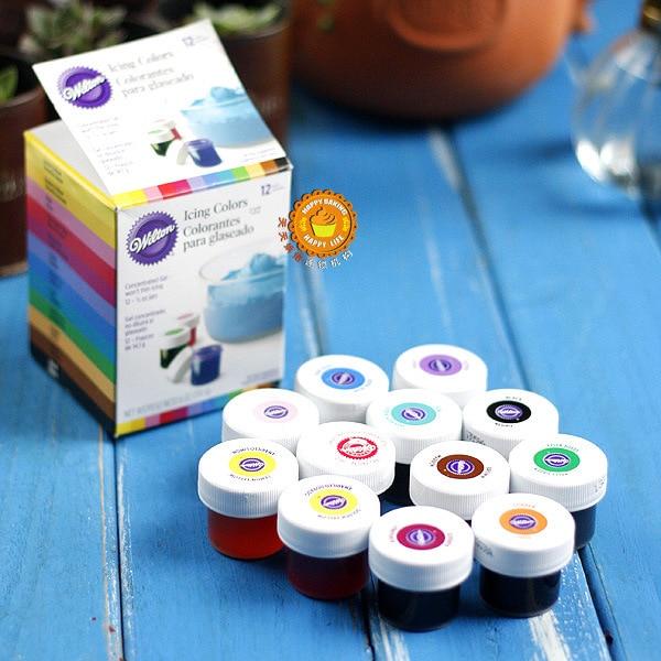 free shipping america wilton double sugar cake pigment color paste food baking wilton 12 color pigment - Colorant Alimentaire Wilton