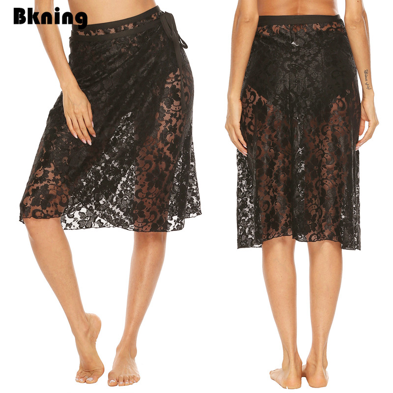 Black Lace Cover Up Women Beach Cover-ups Half Pareo Beach Dress Skirts Sheer Warp Beachwear Shorts Summer Bikini De Plage Wear
