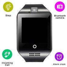 Q18 Relógio inteligente Bluetooth Smartwatch Twitter Facebook Whatsapp Sync Suporte Cartão SIM Rastreador De Fitness Relógio de Pulso para IOS Android