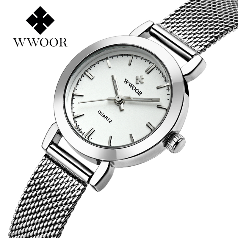 WWOOR kvinnors klocka Ultra Thin Stainless Steel Quartz Watch Lady Casual Hours Armbandsur Klockor Women Lover's Female Clock Gift