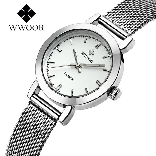 Wwoor Для женщин часы ультра тонкий Нержавеющаясталь Кварцевые часы Lady Повседневное часы браслет Часы Для женщин любовника женский часы подарок