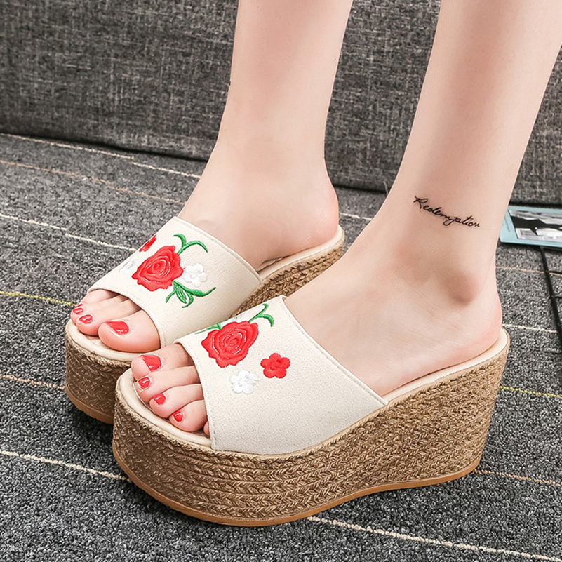 Retro Embroidery Women Wedges Sandals Summer Style Platform Shoes Woman Casual Thick High Heels Creepers Slippers Plus Size 9 timetang 2017 leather gladiator sandals comfort creepers platform casual shoes woman summer style mother women shoes xwd5583