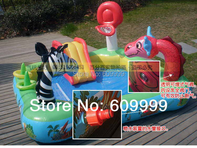 100% nontoxic odorless exported to US Multifunction Inflatable Paddling Pool/Childs Swimming Pool with spraying cartoon animals