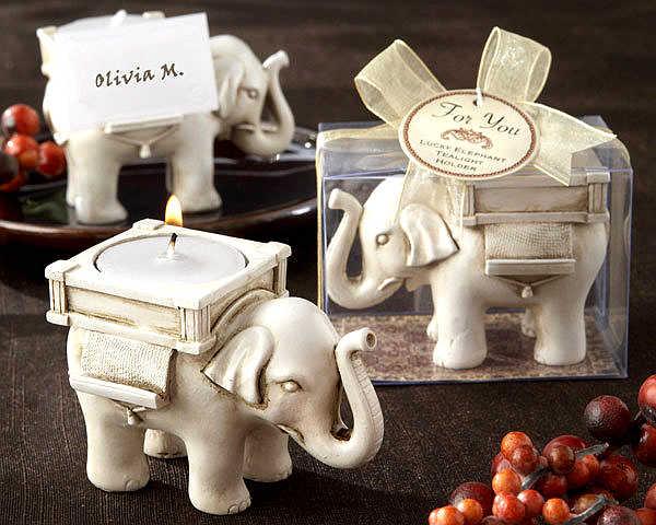 """Fabryka szybka dostawa Wedding Favor antyczne kości słoniowej/złoty """"szczęście słoń"""" wykończenie herbaty świecznik ślub Party dobrodziejstw hurtowych"""