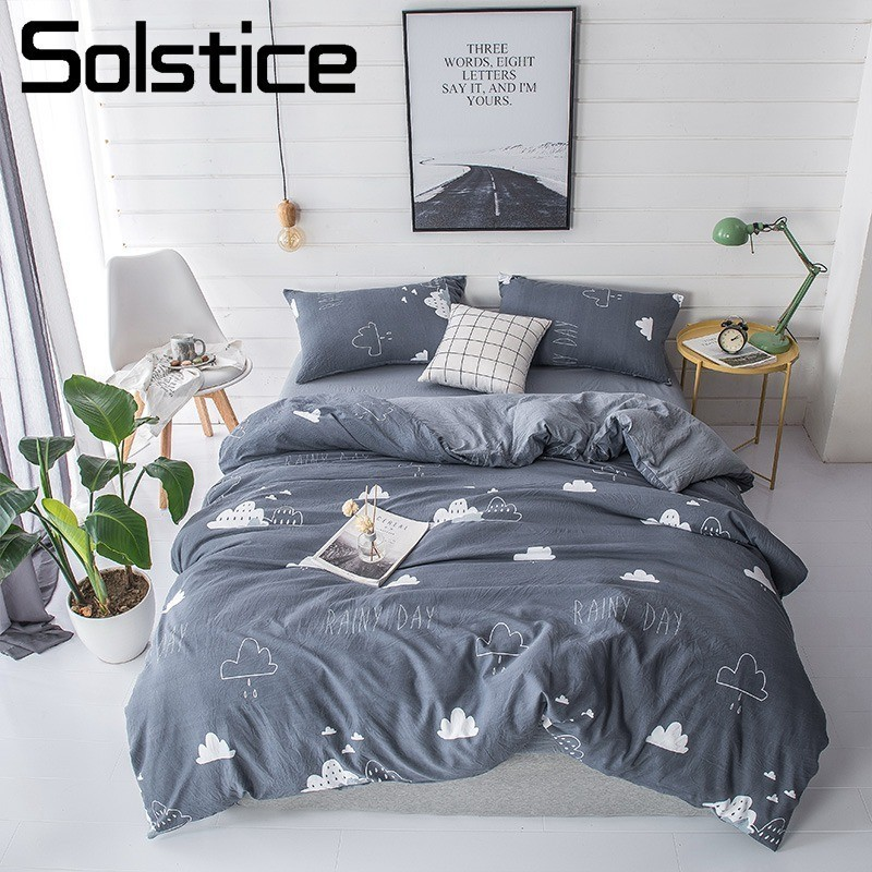 Solstice Home Textile Dark Gray Cloud Cartoon Duvet Cover Pillowcase Flat Bed Sheet Boy Teen Girls Bedding Linens Set King QueenSolstice Home Textile Dark Gray Cloud Cartoon Duvet Cover Pillowcase Flat Bed Sheet Boy Teen Girls Bedding Linens Set King Queen