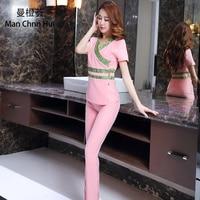 Beauty clothing thai style style Spa health club beauty salon medical uniform new staff work wear s top+pants Women's suit