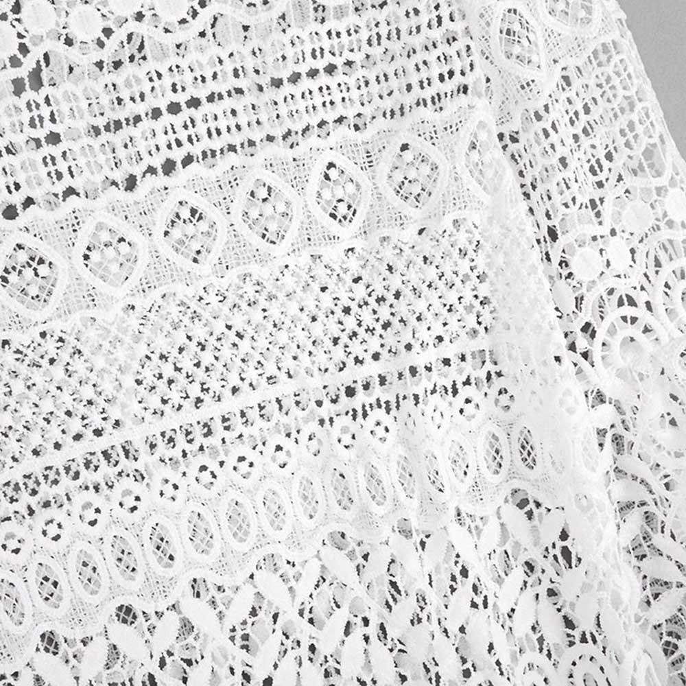 VESTLINDA Sexy Lace Hollow Out Blouse Shirt Women Blusas Feminina 2017 O Neck Lantern Sleeve Blusa Ladies Elegant Lace Blouse 15