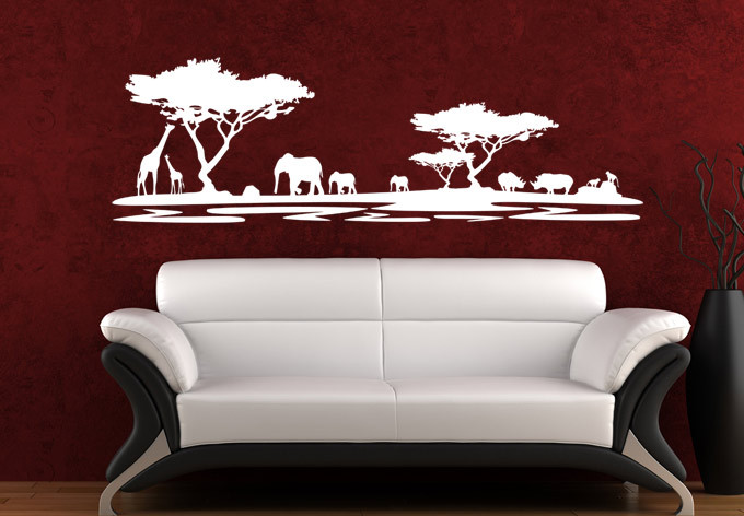 Free Shipping Wholesale And Retail Safari Africa Animals Wall Stickers Wall Decals Wall Covering Home Decor Wa0003