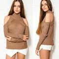 2016 Hot Sale Women Fashion Pullover  Apparel Turtleneck Off Shoulder Knitted Sweater C104