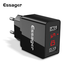 Essager LED Display 2 USB Phone Charger For iPhone Samsung Xiaomi Android Charger USB Wall Charger For iPad Mobile Phone Charger(China)