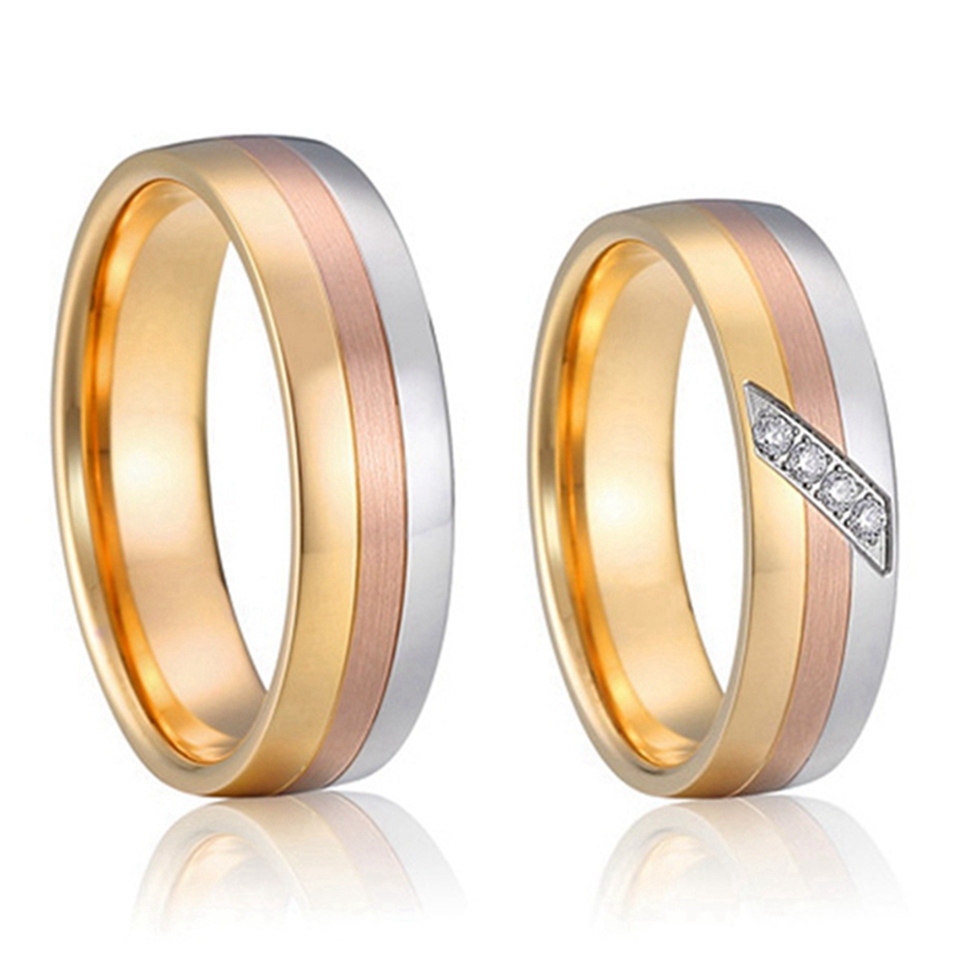 1 Pair Highest Quality And Craftsmanship Tricolor Titanium Steel Jewelry  Classic Couples Engagement Wedding Rings Set