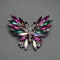 Красочные хрустальная бабочка, броши для женщин позолоченные зимнее пальто брошь pin высокое качество свинца милые животные брошь подарок