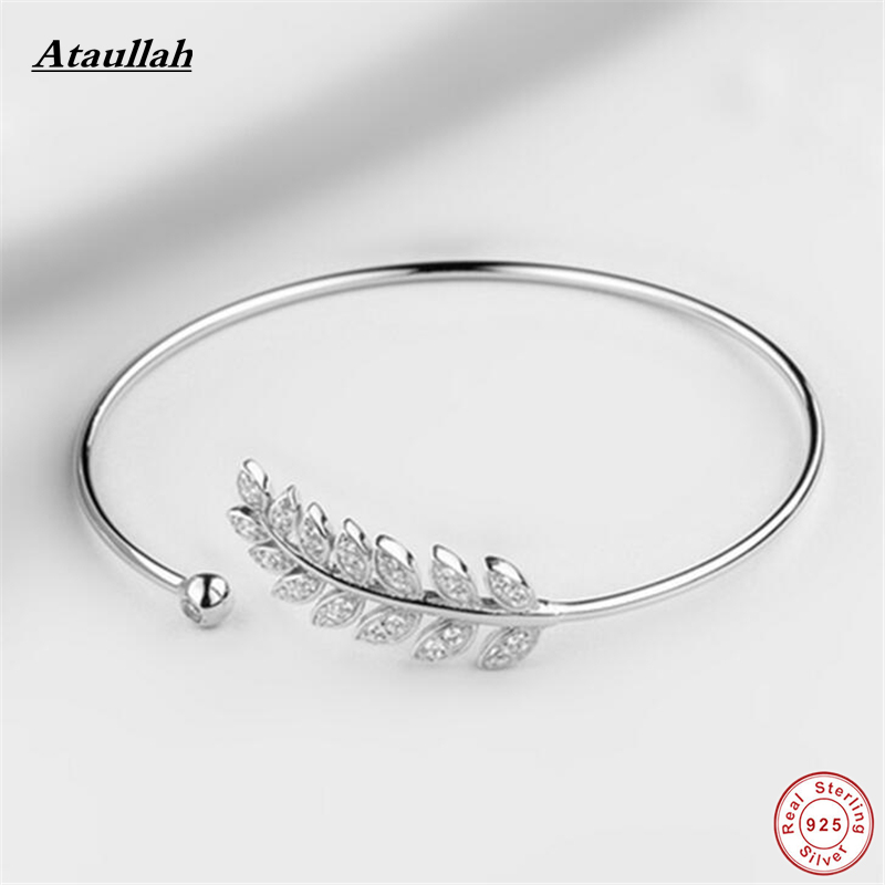 Ataullah Flower Leaves 925 Sterling Silver Bracelets for Women Rose Gold Color Bangles Sterling Silver Fine Jewelry SBG006