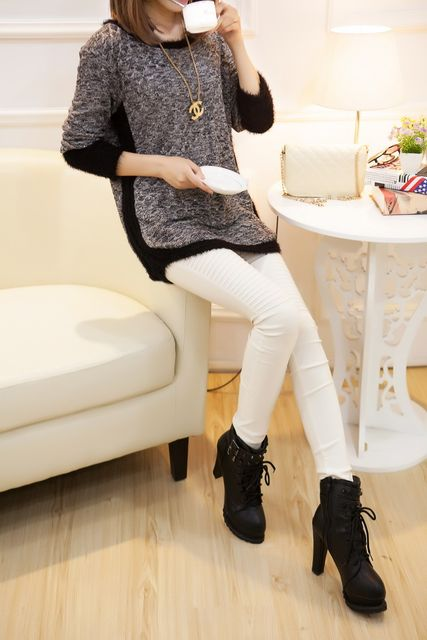 New Fashion Autumn  Brand Female Mohair Pullover Loose Sweater Knitted Long Sleeve O-neck Gray Pullovers Hot Sale Sweater 17
