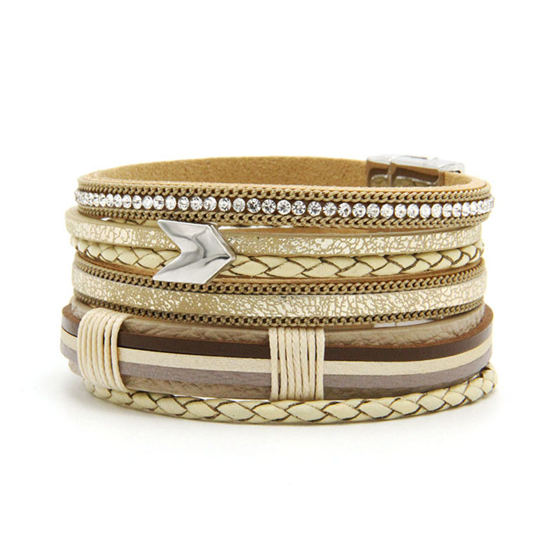 ZG Fashion Multilayer charm leather Vintage Feather Arrow bracelet for men women magnetic Jewelry Pulseras