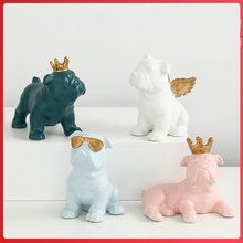 small ceramic Crown Bulldog home decor crafts room decoration French porcelain animal figurine gifts