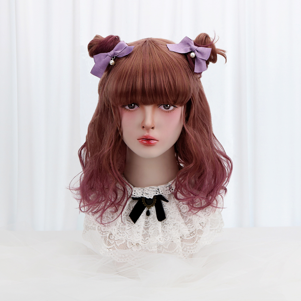 18''Synthetic Wavy Lolita Wig With Bangs Brown Purple Ombre Long Hair Custom Cosplay Japan Harajuku Wig For Women Heat Resistant