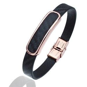 Image 2 - Мужской кожаный браслет HAWSON, браслеты из микрофибры в стиле хип хоп с застежкой из нержавеющей стали, регулируемый браслет