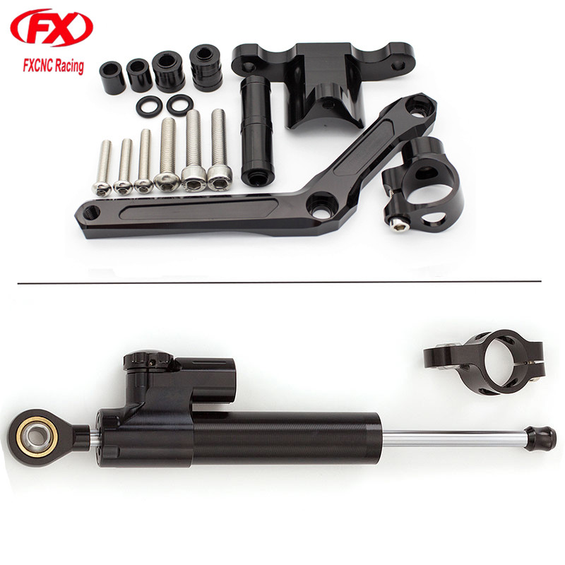 цена на For Benelli BN600 BJ600 Black Aluminum CNC Motorcycle Stabilizer Damper Steering Mounting Mount Bracket Holder Support Kit Set