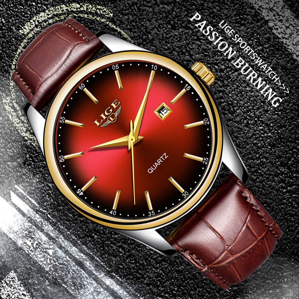 2019 <font><b>LIGE</b></font> New Mens Watches Top Brand Luxury Creative Dial Watch Leather Date Waterproof Quartz Wristwatch Relogio Masculino+Box image