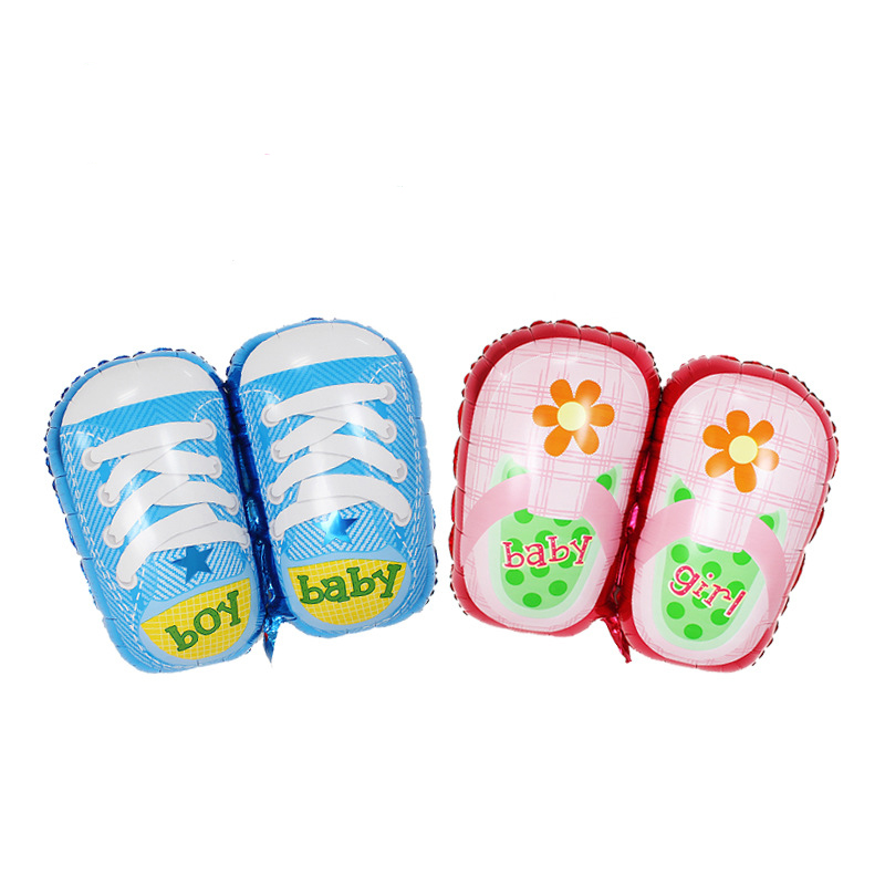 Lucky 50pcs lot Baby Boys Girls Shoes Foil Balloons Cartoon Shoes Baby Shower Balloon Kid s