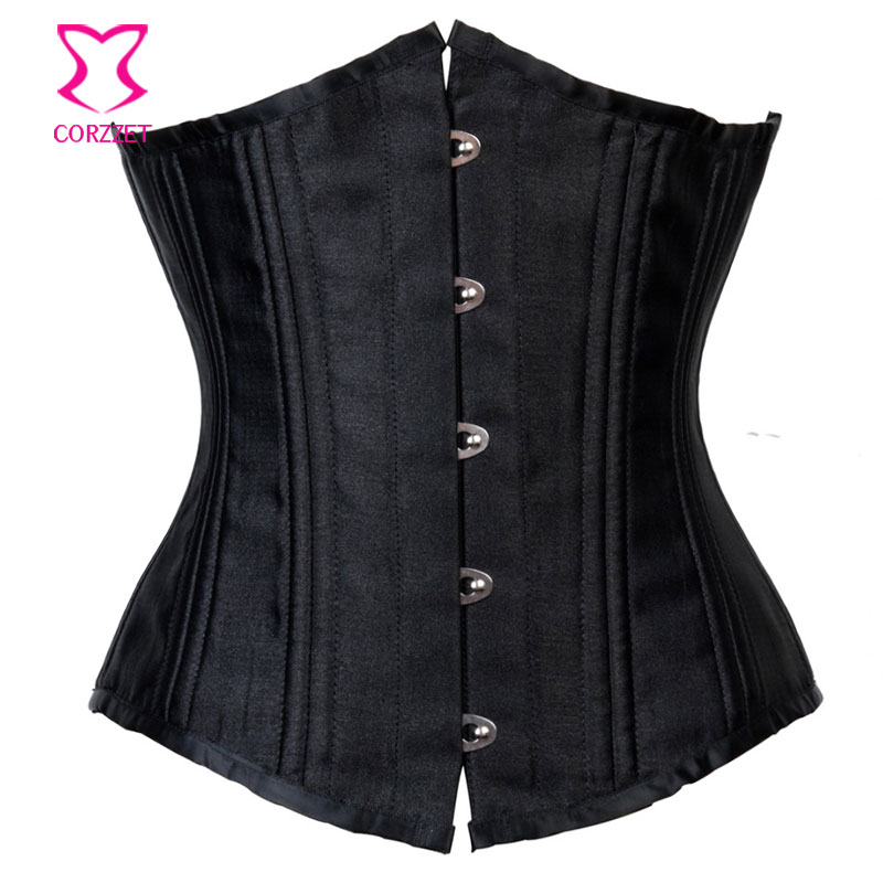 Black Satin Bustier Sexy 24 Steel Boned Waist Trainer Corset Underbust 6XL Plus Size Women Corsets And Bustiers Gothic Clothing