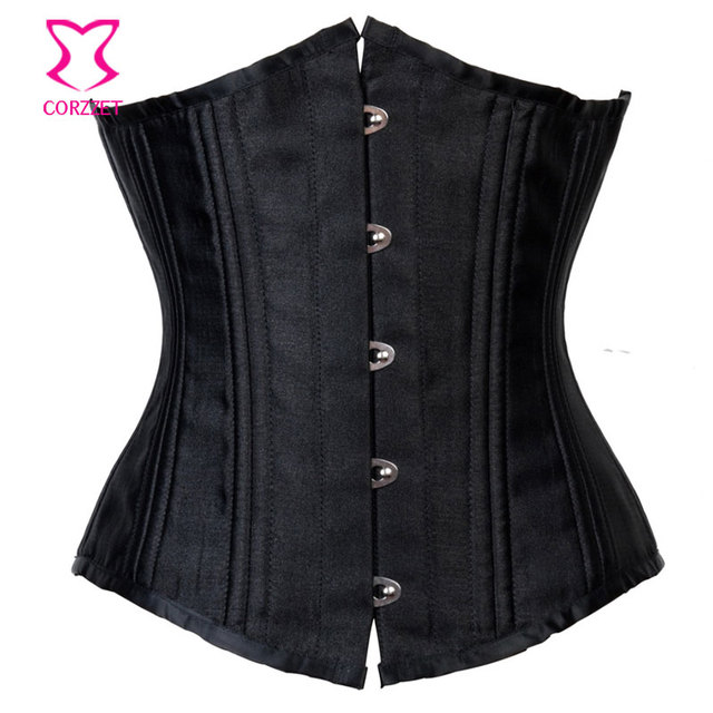 Black Satin Bustier Sexy 24 Steel Boned Waist Trainer Corset Underbust 6XL  Plus Size Women Corsets And Bustiers Gothic Clothing 27c5bc1e8