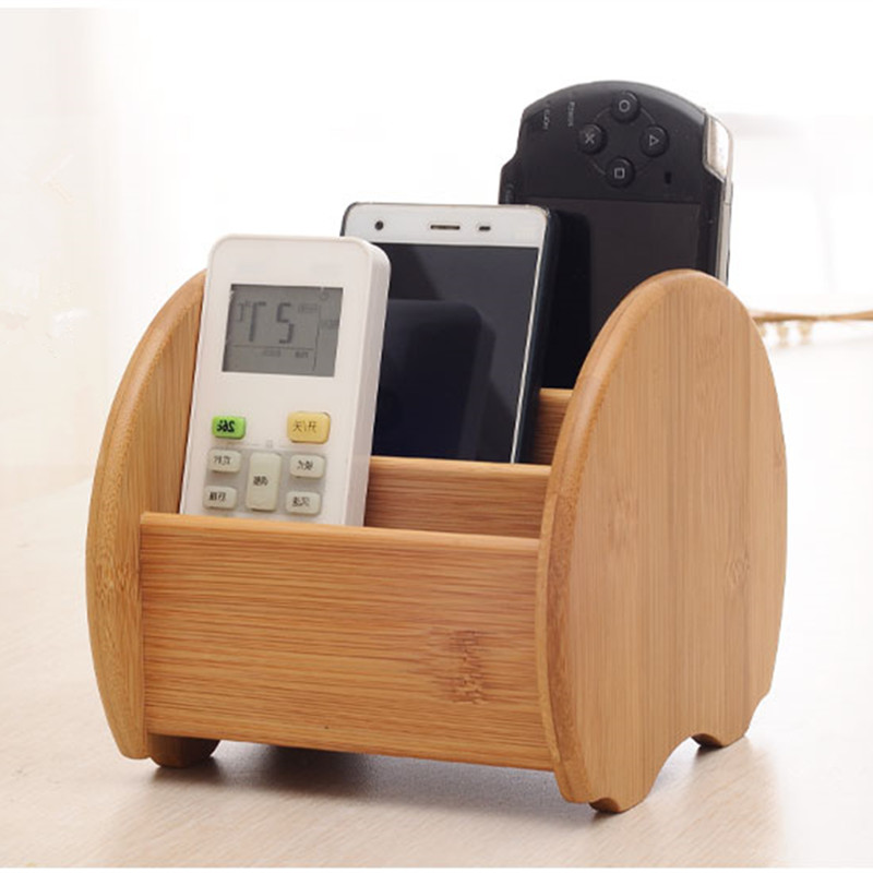 Creative Bamboo Storage Box Living Room Table Sundries Remote Controller Holder Eco Natural Wood