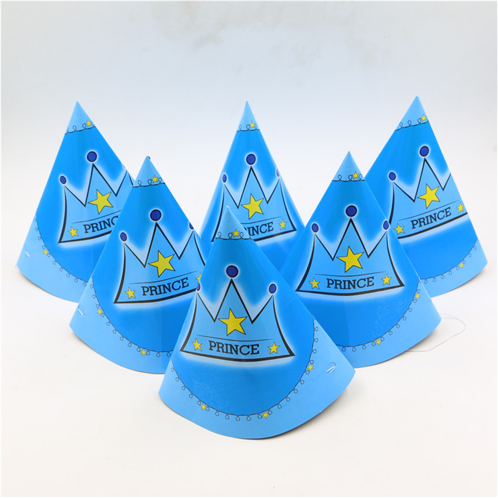 Boys Baby Shower Paper Cap 6pcs Lot My Prince Crown 1st Birthday Cone Hat Caps With Strings Kids Favor