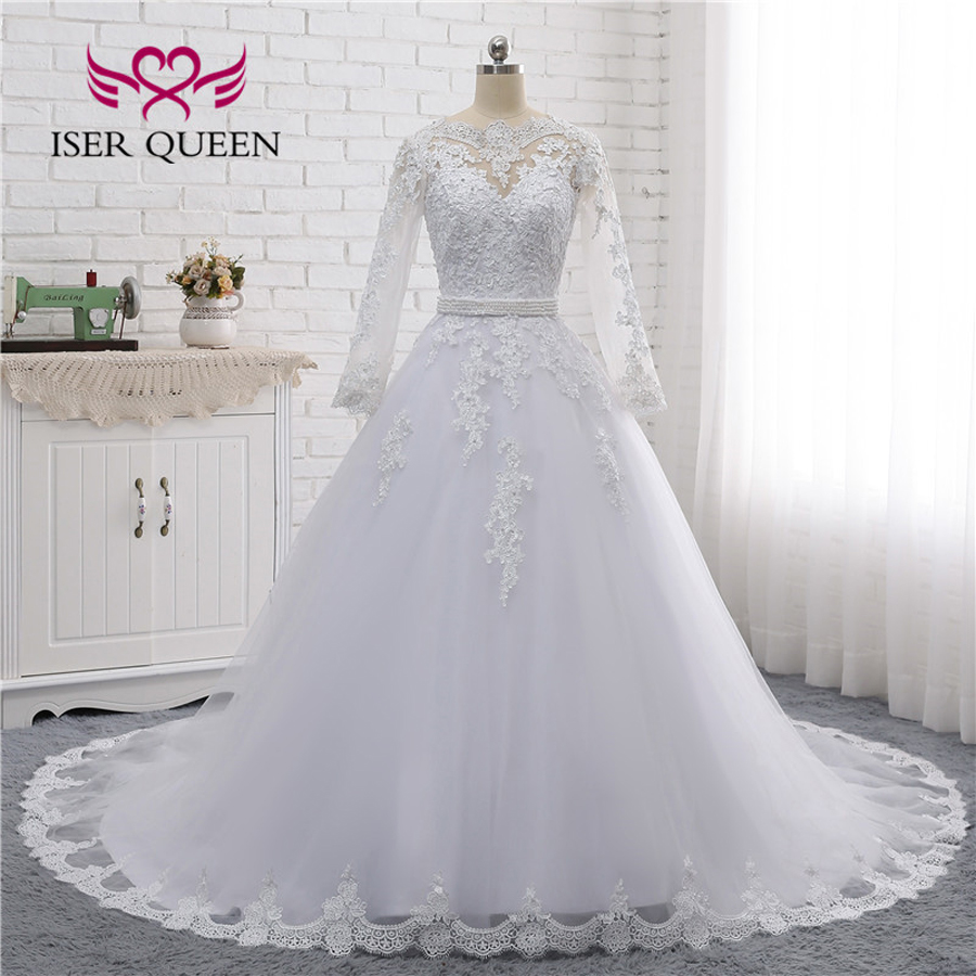 Long Sleeve Arab Wedding Dress See Through Back Pearls Beaded Sashes With Bow Beautiful Lace A line Wedding Dresses W0007