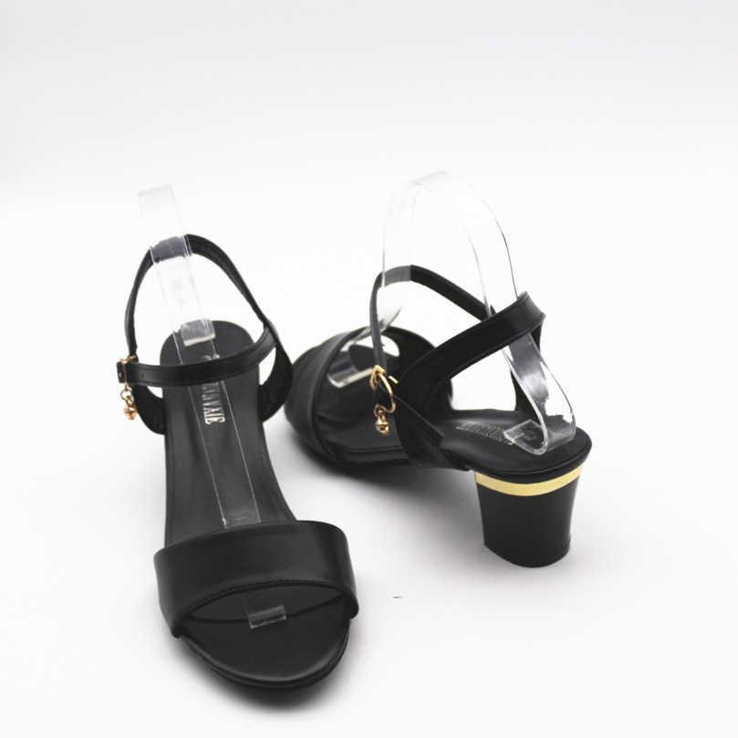 Chaussures De Sandale Phụ Nữ Thời Trang Chất Lượng Cao Màu Đen Pu Da Peep Toe Giày Cao Gót Giày Dép Phụ Nữ Dễ Thương Mùa Hè Dép e283