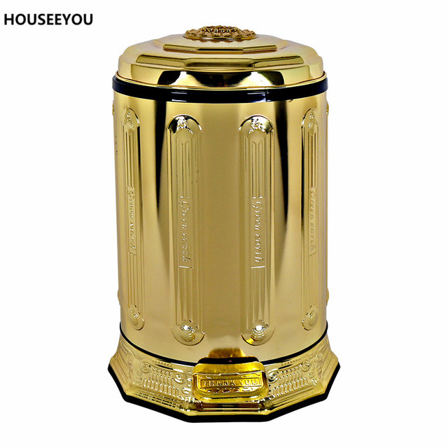 european golden stainless steel quiet foot pedal trash can garbage