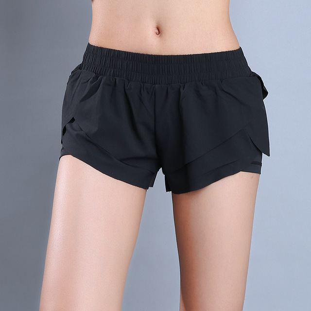 Women Black Comfy Yoga Sports Shorts